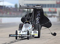 May 20, 2017; Topeka, KS, USA; NHRA top fuel driver Shawn Langdon during qualifying for the Heartland Nationals at Heartland Park Topeka. Mandatory Credit: Mark J. Rebilas-USA TODAY Sports