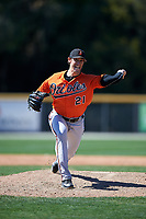 Baltimore Orioles pitcher Brian Moran (21) delivers a pitch during a minor league Spring Training game against the Boston Red Sox on March 16, 2017 at the Buck O'Neil Baseball Complex in Sarasota, Florida.  (Mike Janes/Four Seam Images)