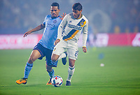 Carson, CA - Saturday August 12, 2017: Yangel Herrera, Jonathan dos Santos during a Major League Soccer (MLS) game between the Los Angeles Galaxy and the New York City FC at StubHub Center.