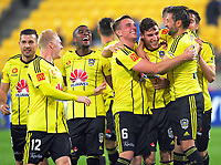 Matthew Ridenton is congratulated after making it 3-0 during the A-League football match between Wellington Phoenix and Newcastle Jets at Westpac Stadium in Wellington, New Zealand on Sunday, 26 March 2017. Photo: Dave Lintott / lintottphoto.co.nz