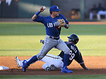Reno Aces&rsquo; Socrates Brito is out in a double play against Las Vegas 51s' Gavin Cecchini in Reno, Nev. on Saturday, June 3, 2017. The 51s won 9-5.<br /> Photo by Cathleen Allison/Nevada Photo Source