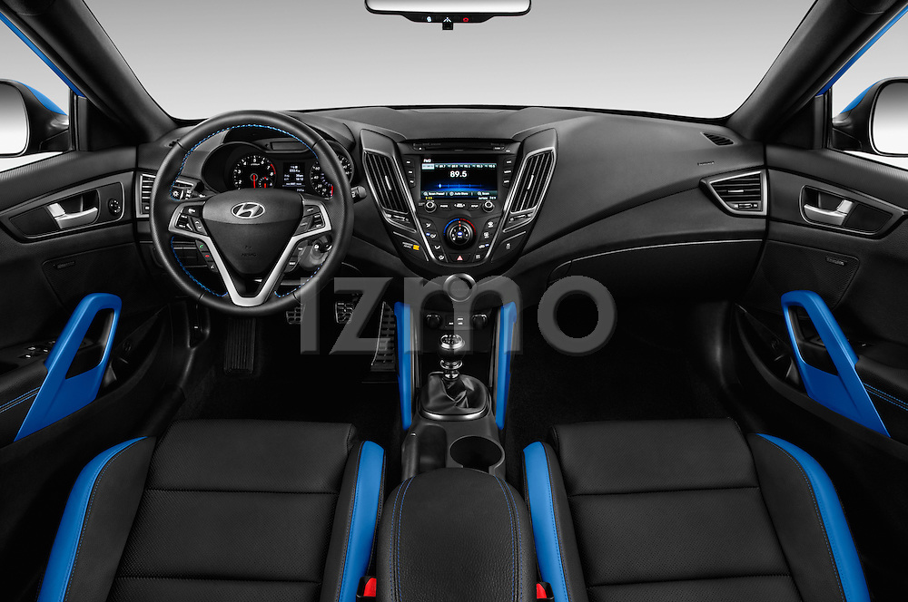 Stock photo of straight dashboard view of 2016 Hyundai Veloster 1.6 Turbo Rally Edition Manual 4 Door Hatchback Dashboard