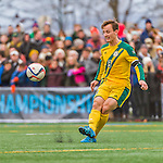 15 November 2015: University of Vermont Catamount Midfielder Jackson Dayton, a Junior from San Francisco, CA, in action against the Binghamton University Bearcats at Virtue Field in Burlington, Vermont. The Catamounts shut out the Bearcats 1-0 in the America East Championship Game. Mandatory Credit: Ed Wolfstein Photo *** RAW (NEF) Image File Available ***
