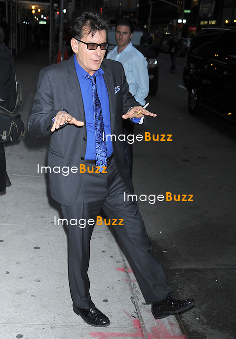 """Charlie Sheen arriving at the """"Late Show with David Letterman"""" in New York City. New York, January 14, 2013...."""