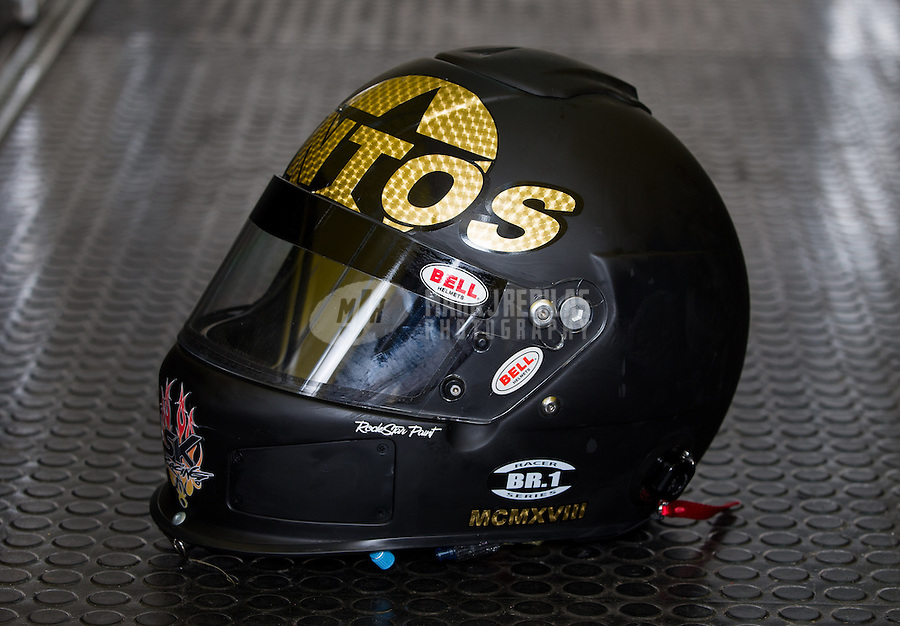 Aug. 30, 2013; Clermont, IN, USA: The helmet of NHRA driver Stefan Kontos during qualifying for the US Nationals at Lucas Oil Raceway. Mandatory Credit: Mark J. Rebilas-