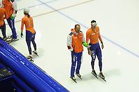 SCHAATSEN: HEERENVEEN: IJsstadion Thialf, 15-11-2012, World Cup Training, Seizoen 2012-2013, Gerard Kemkers (trainer/coach TVM Schaatsploeg), Sven Kramer, ©foto Martin de Jong