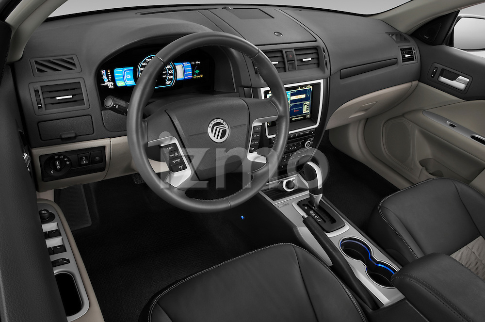 High angle dashboard view of a 2010 Mercury Milan Hybrid