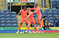 Huddersfield Town's Juninho Bacuna (left) celebrates scoring his side's second goal with team-mates Lewis O'Brien and Jaden Brown<br /> <br /> Photographer Kevin Barnes/CameraSport<br /> <br /> The EFL Sky Bet Championship - Blackburn Rovers v Huddersfield Town - Saturday 19th October 2019 - Ewood Park - Blackburn<br /> <br /> World Copyright © 2019 CameraSport. All rights reserved. 43 Linden Ave. Countesthorpe. Leicester. England. LE8 5PG - Tel: +44 (0) 116 277 4147 - admin@camerasport.com - www.camerasport.com