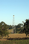 A historic fire tower sits at the Lab Complex of the Florida Department of Agriculture in Tallahassee, Florida.  Towers similar to this one were used all over the state as an early warning system for wildfires.