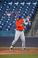 St. Lucie Mets Jeremy Vasquez (16) at bat during a Florida State League game against the Tampa Tarpons on April 10, 2019 at George M. Steinbrenner Field in Tampa, Florida.  St. Lucie defeated Tampa 4-3.  (Mike Janes/Four Seam Images)