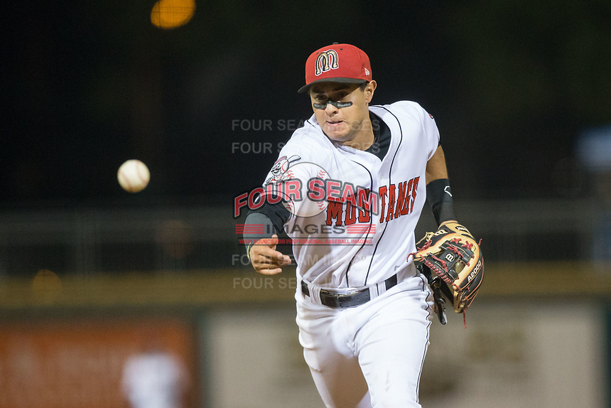 Billings Mustangs second baseman Alejo Lopez (5) flips the ball towards first base during the game against the Missoula Osprey at Dehler Park on August 21, 2017 in Billings, Montana.  The Osprey defeated the Mustangs 10-4.  (Brian Westerholt/Four Seam Images)