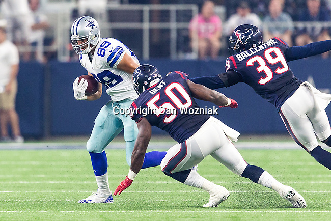 Dallas Cowboys tight end Gavin Escobar (89) in action during the pre-season game between the Houston Texans and the Dallas Cowboys at the AT & T stadium in Arlington, Texas.