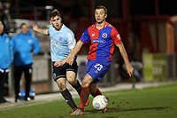 Adam McDonnell of Aldershot Town and Michael Cheek of Dagenham  during Dagenham & Redbridge vs Aldershot Town, Vanarama National League Football at the Chigwell Construction Stadium on 10th February 2018