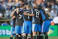San Jose team huddle, .San Jose Earthquakes over the Houston Dynamo 2-1, at Buck Shaw Stadium in Santa Clara, Calif., Thursday, May 22, 2008. .
