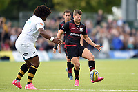 Richard Wigglesworth of Saracens puts boot to ball. Aviva Premiership match, between Saracens and Wasps on October 8, 2017 at Allianz Park in London, England. Photo by: Patrick Khachfe / JMP