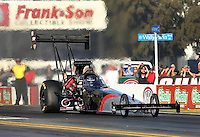 Feb. 14, 2013; Pomona, CA, USA; NHRA top fuel dragster driver Larry Dixon during qualifying for the Winternationals at Auto Club Raceway at Pomona.. Mandatory Credit: Mark J. Rebilas-