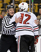 Chris Aughe, Dennis McCauley (NU - 12) - The Harvard University Crimson defeated the Northeastern University Huskies 3-1 on Monday, February 4, 2008, in the opening game of the 2008 Beanpot at TD Banknorth Garden in Boston, Massachusetts.