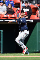Lehigh Valley IronPigs third baseman Maikel Franco (10) catches a pop up in foul territory during a game against the Buffalo Bisons on May 17, 2014 at Coca-Cola Field in Buffalo, New  York.  Lehigh Valley defeated Buffalo 2-1  (Mike Janes/Four Seam Images)