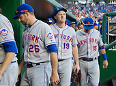 New York Mets right fielder Jay Bruce (19), center, walks to the clubhouse after his team's 1 - 0 loss to the Washington Nationals at Nationals Park in Washington, D.C. on Wednesday, September 14, 2016.   With him are catcher Kevin Plawecki (26), left and shortstop Matt Reynolds (15), right,<br /> Credit: Ron Sachs / CNP<br /> (RESTRICTION: NO New York or New Jersey Newspapers or newspapers within a 75 mile radius of New York City)