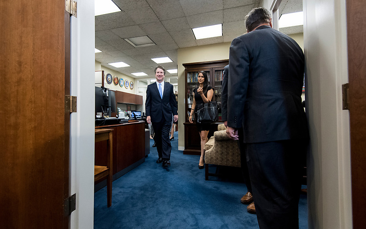 UNITED STATES - JULY 12: Supreme Court nominee Brett Kavanaugh arrives to meet with Sen. Dan Sullivan, R-Alaska, in the Hart Senate Office Building on Thursday, July 12, 2018. (Photo By Bill Clark/CQ Roll Call)