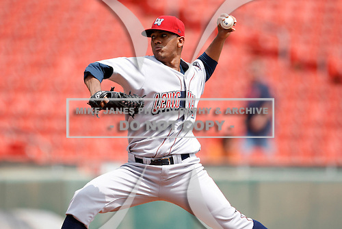 May 28, 2009:  Lehigh Valley IronPigs starting pitcher Antonio Bastardo delivers a pitch during a game at Coca-Cola Field in Buffalo, NY.  The IronPigs are the International League Triple-A affiliate of the Philadelphia Phillies.  Photo by:  Mike Janes/Four Seam Images