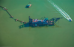 Aerial view of Dredging in the Port of Baltimore, Maryland