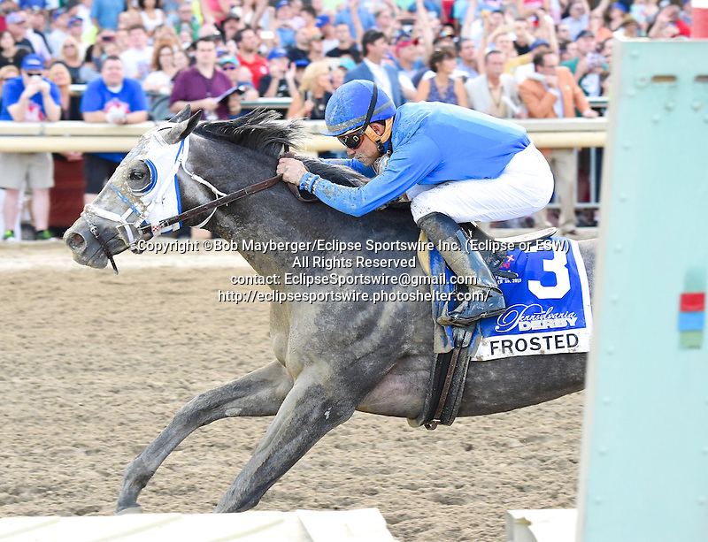 Frosted (no. 3), ridden by Joel Rosario and trained by Kiaran McLaughlin, wins the 36th running of the grade 2 Pennsylvania Derby for three year olds on September 19, 2015 at Parx Racing in Bensalem, Pennsylvania.  (Bob Mayberger/Eclipse Sportswire)