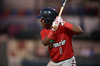 Fort Myers Miracle Yeltsin Encarnacion (1) bats during a Florida State League game against the Lakeland Flying Tigers on August 3, 2019 at Publix Field at Joker Marchant Stadium in Lakeland, Florida.  Lakeland defeated Fort Myers 4-3.  (Mike Janes/Four Seam Images)