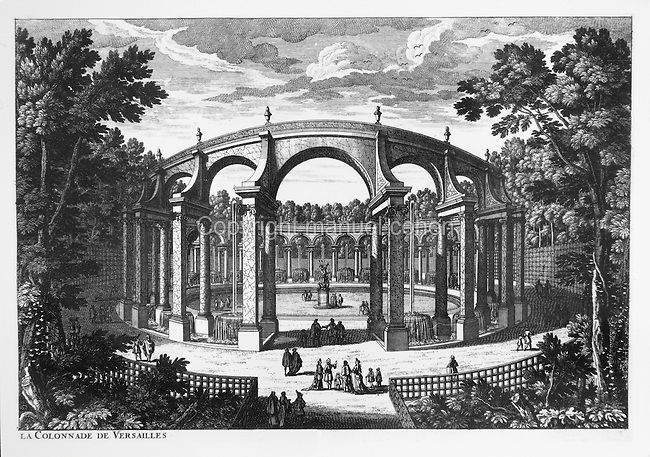 The Colonnade in the gardens of the Palace of Versailles, built 1684-85 by Jules Hardouin-Mansart, a circular double arched peristyle originally with 32 arches and 31 fountains, and a statue of the Abduction of Persephone in the centre, placed there in 1696, in a late 17th century engraving. Copyright © Collection Particuliere Tropmi / Manuel Cohen
