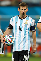 Lionel Messi of Argentina holds the ball