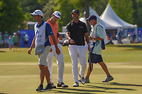 Billy Horschel (USA) and Scott Piercy (USA) fist bump after saving par on 17 during Round 4 of the Zurich Classic of New Orl, TPC Louisiana, Avondale, Louisiana, USA. 4/29/2018.<br /> Picture: Golffile | Ken Murray<br /> <br /> <br /> All photo usage must carry mandatory copyright credit (&copy; Golffile | Ken Murray)