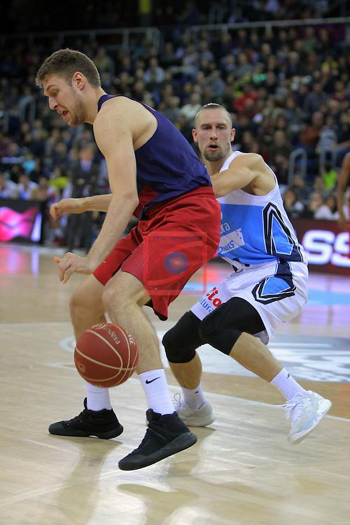 League ACB-ENDESA 2016/2017 - Game: 16.<br /> FC Barcelona Lassa vs Rio Natura Monbus Obradoiro: 100-76.<br /> Aleksandar Vezenkov vs Deividas Dulkys.