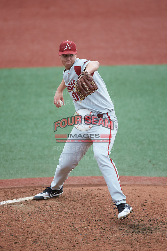 Arkansas Razorbacks relief pitcher Jackson Rutledge (99) in action against the Charlotte 49ers at Hayes Stadium on March 21, 2018 in Charlotte, North Carolina.  The 49ers defeated the Razorbacks 6-3.  (Brian Westerholt/Four Seam Images)