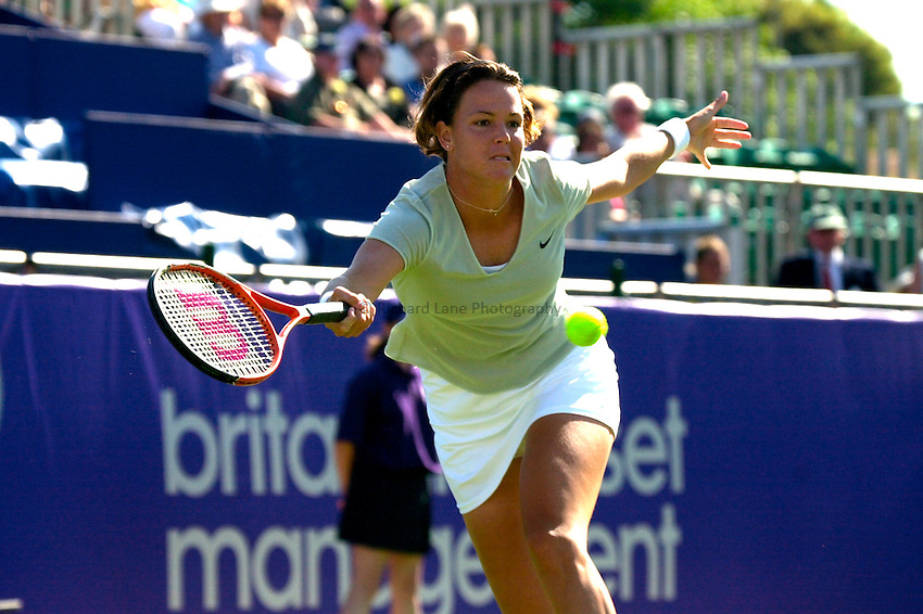 Photo. Rene Solari..19/6/01  .Eastbourne Day 2. American Lindsay Davenport returns back to form with this forehand as she beats Frence Anne-Gaelle Sidot....