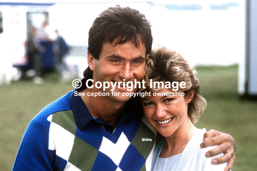 David Feherty, professional golfer, Bangor, Co Down, N Ireland, with his fiancee, Caroline de Wit, South Africa. Taken at Carrolls Irish Open 1985. 19850606DF1..Copyright Image from Victor Patterson, 54 Dorchester Park, Belfast, UK, BT9 6RJ..Tel: +44 28 9066 1296.Mob: +44 7802 353836.Voicemail +44 20 8816 7153.Skype: victorpattersonbelfast.Email: victorpatterson@me.com.Email: victorpatterson@ireland.com (back-up)..IMPORTANT: If you wish to use this image or any other of my images please go to www.victorpatterson.com and click on the Terms & Conditions. Then contact me by email or phone with the reference number(s) of the image(s) concerned.