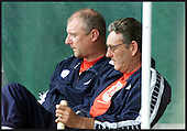 Toronto Cricket Club - Scotland coaches Jim Love (left) and Mike Hendrick can only watch as Canada win ..... picture by Donald MacLeod  17.07 .01