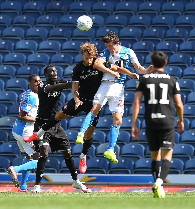 Blackburn Rovers' Darragh Lenihan jumps highest<br /> <br /> Photographer Dave Howarth/CameraSport<br /> <br /> The EFL Sky Bet Championship - Blackburn Rovers v Bristol City - Saturday 20th June 2020 - Ewood Park - Blackburn<br /> <br /> World Copyright © 2020 CameraSport. All rights reserved. 43 Linden Ave. Countesthorpe. Leicester. England. LE8 5PG - Tel: +44 (0) 116 277 4147 - admin@camerasport.com - www.camerasport.com