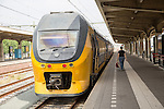 Sprinter train at platform, Maastricht railway station, Limburg province, Netherlands