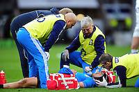 Edoardo Gori of Italy is treated for an injury during a break in play. RBS Six Nations match between England and Italy on February 26, 2017 at Twickenham Stadium in London, England. Photo by: Patrick Khachfe / Onside Images