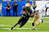 31 Aug 2008: Colorado wide receiver Patrick Williams (in black) is caught by Colorado State cornerback Brandon Owens. The Colorado Buffaloes defeated the Colorado State Rams 38-17 at Invesco Field at Mile High in Denver, Colorado. FOR EDITORIAL USE ONLY