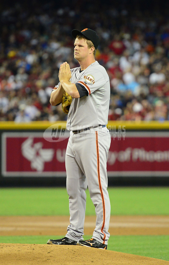 May 12, 2012; Phoenix, AZ, USA; San Francisco Giants pitcher Matt Cain reacts in the second inning against the Arizona Diamondbacks at Chase Field. Mandatory Credit: Mark J. Rebilas-