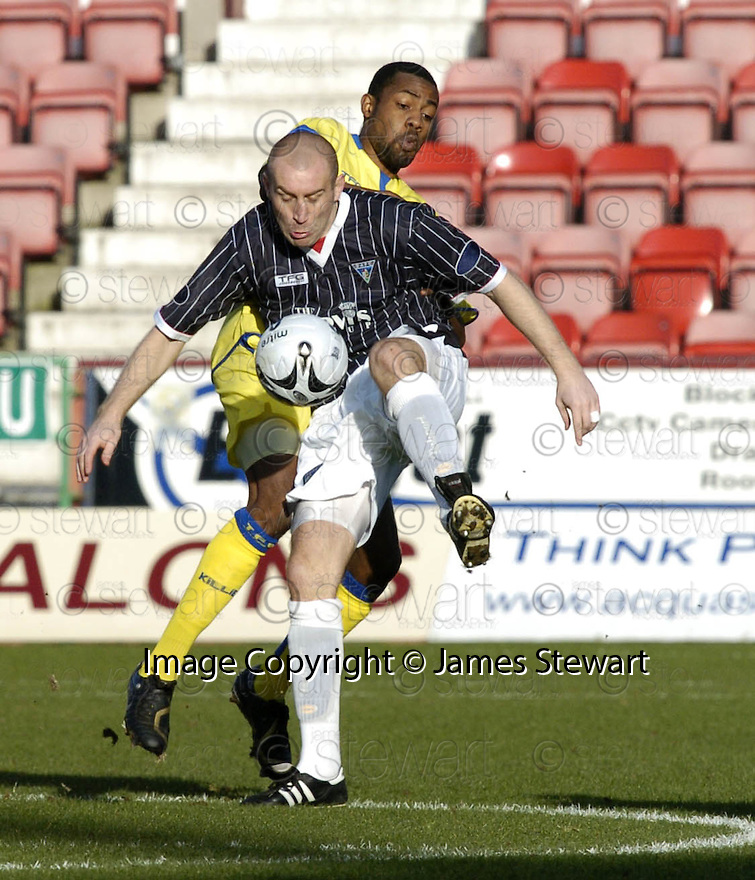 17/02/2007       Copyright Pic: James Stewart.File Name : sct_jspa11_dunfermline_v_kilmarnock.JIM HAMILTON HOLDS OFF KILMARNOCK'S SIMON FORD....James Stewart Photo Agency 19 Carronlea Drive, Falkirk. FK2 8DN      Vat Reg No. 607 6932 25.Office     : +44 (0)1324 570906     .Mobile   : +44 (0)7721 416997.Fax         : +44 (0)1324 570906.E-mail  :  jim@jspa.co.uk.If you require further information then contact Jim Stewart on any of the numbers above.........