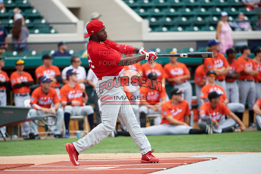 Palm Beach Cardinals Randy Arozarena (4) during the Home Run Derby before the Florida State League All-Star Game on June 17, 2017 at Joker Marchant Stadium in Lakeland, Florida.  FSL North All-Stars defeated the FSL South All-Stars  5-2.  (Mike Janes/Four Seam Images)