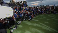 The scrum of press photographers at the final photoshoot during Sunday's Singles at the 2014 Ryder Cup from Gleneagles, Perthshire, Scotland. Picture:  David Lloyd / www.golffile.ie