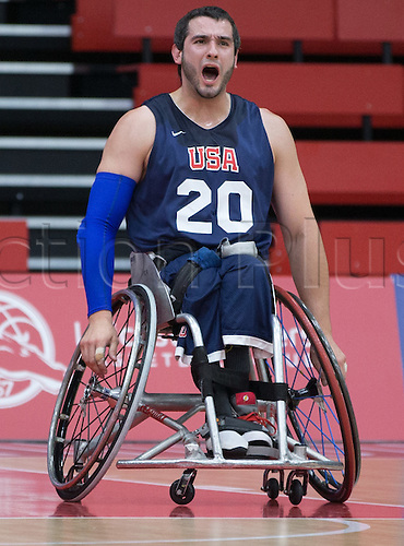 03.07.2016. Leicester Sports Arena, Leicester, England. Continental Clash Wheelchair Basketball, USA versus Japan.  Jared Arambula (USA) celebrates scoring a basket
