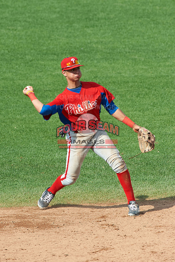 Stephen Alemais #2 of All Hallows High School in New York City, New York playing for the Philadelphia Phillies scout team during the East Coast Pro Showcase at Alliance Bank Stadium on August 2, 2012 in Syracuse, New York.  (Mike Janes/Four Seam Images)