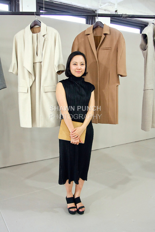 """Jun Juyeon Hong presents her collection at """"The First Eighteen"""", Parsons MFA Fashion Exhibition Reception opening hosted by Donna Karan at 1359 Broadway NYC, May 14, 2012."""