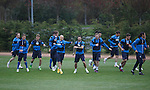 Rangers squad warming up before being put through their paces