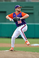 Pitcher Clate Schmidt (32) of the Clemson Tigers was back on the mound in a fall practice intra-squad Orange-Purple scrimmage on Sunday, September 27, 2015, at Doug Kingsmore Stadium in Clemson, South Carolina. (Tom Priddy/Four Seam Images)
