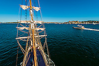 View from the mast of the Southern Swan (a tall ship) sailing in Sydney Harbor, Sydney, New South Wales, Australia